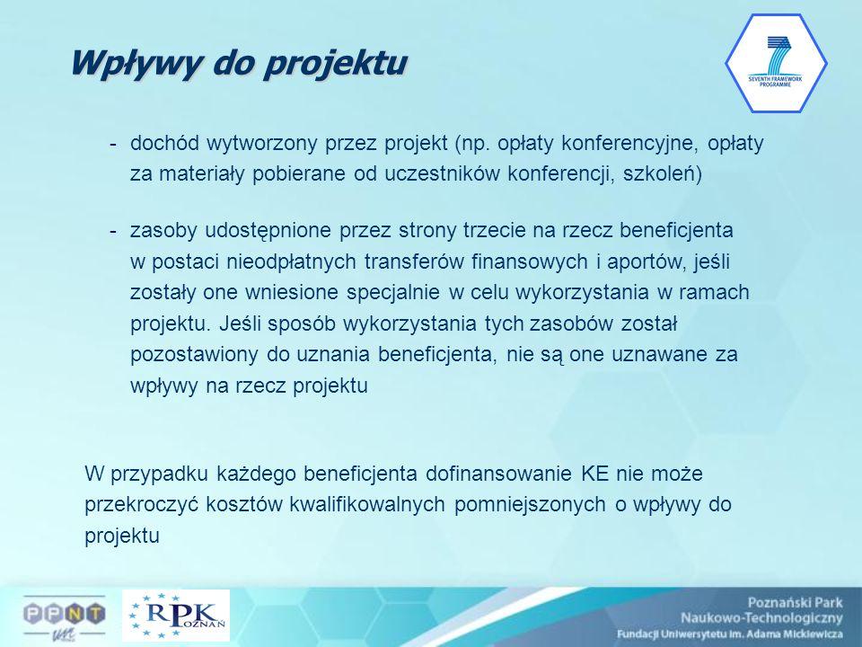 Wpływy do projektu dochód wytworzony przez projekt (np. opłaty konferencyjne, opłaty za materiały pobierane od uczestników konferencji, szkoleń)