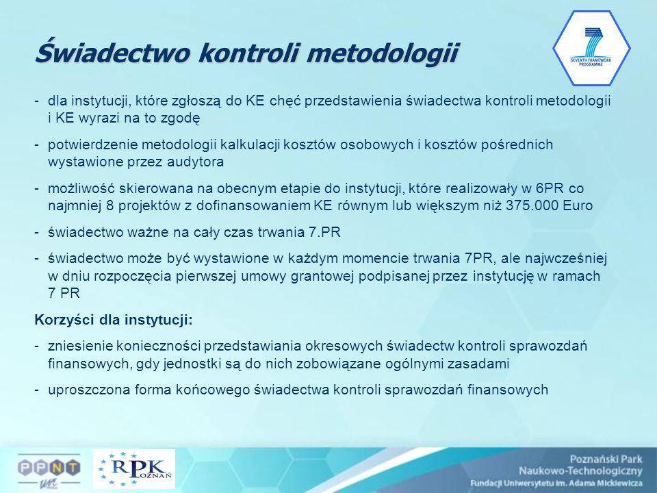 Świadectwo kontroli metodologii