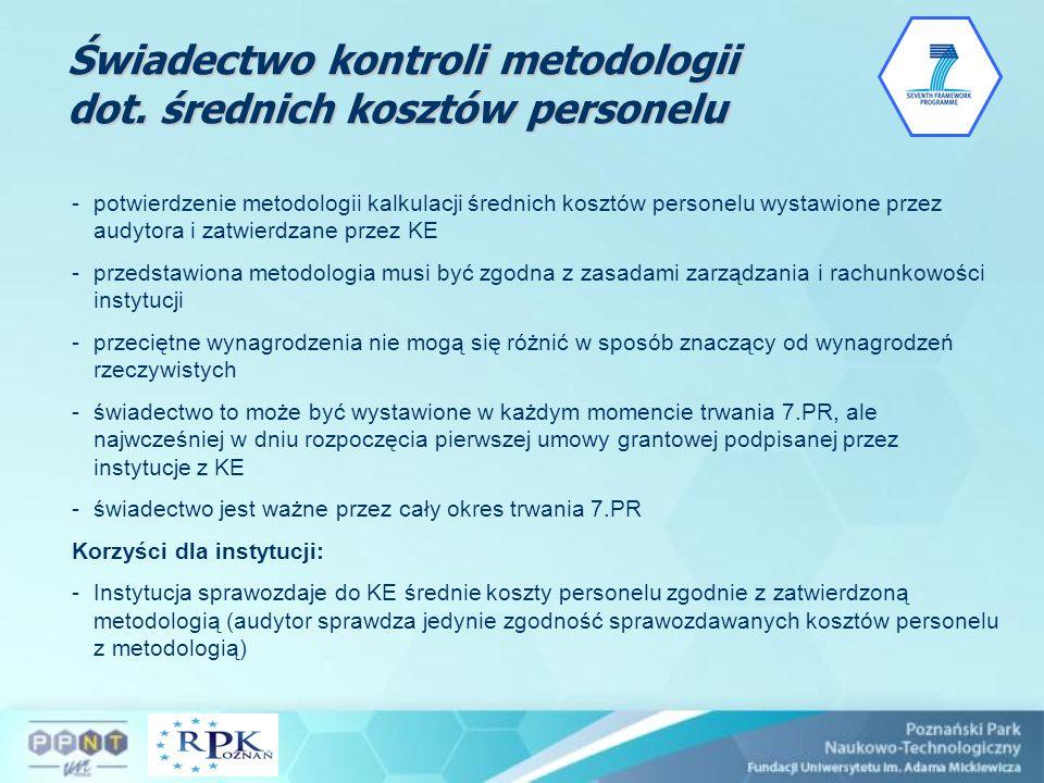 Świadectwo kontroli metodologii dot. średnich kosztów personelu