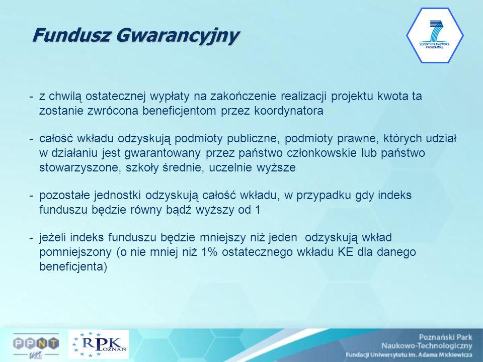 Fundusz Gwarancyjny z chwilą ostatecznej wypłaty na zakończenie realizacji projektu kwota ta zostanie zwrócona beneficjentom przez koordynatora.