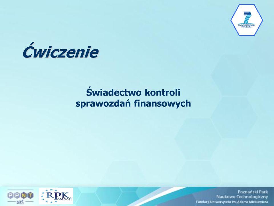 Świadectwo kontroli sprawozdań finansowych