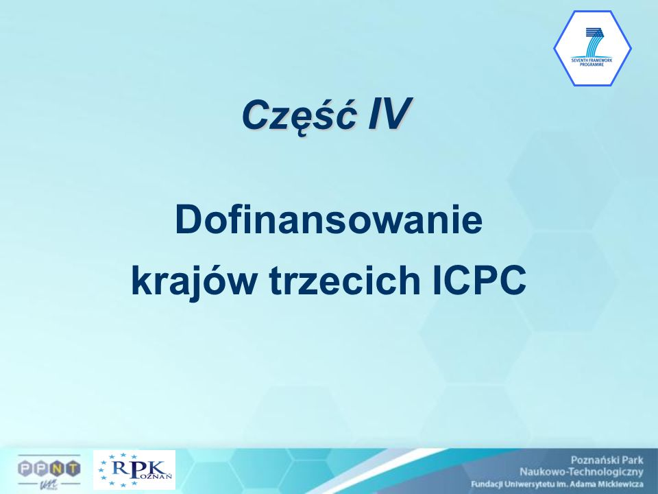 Część IV Dofinansowanie krajów trzecich ICPC