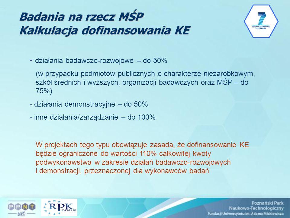 Badania na rzecz MŚP Kalkulacja dofinansowania KE