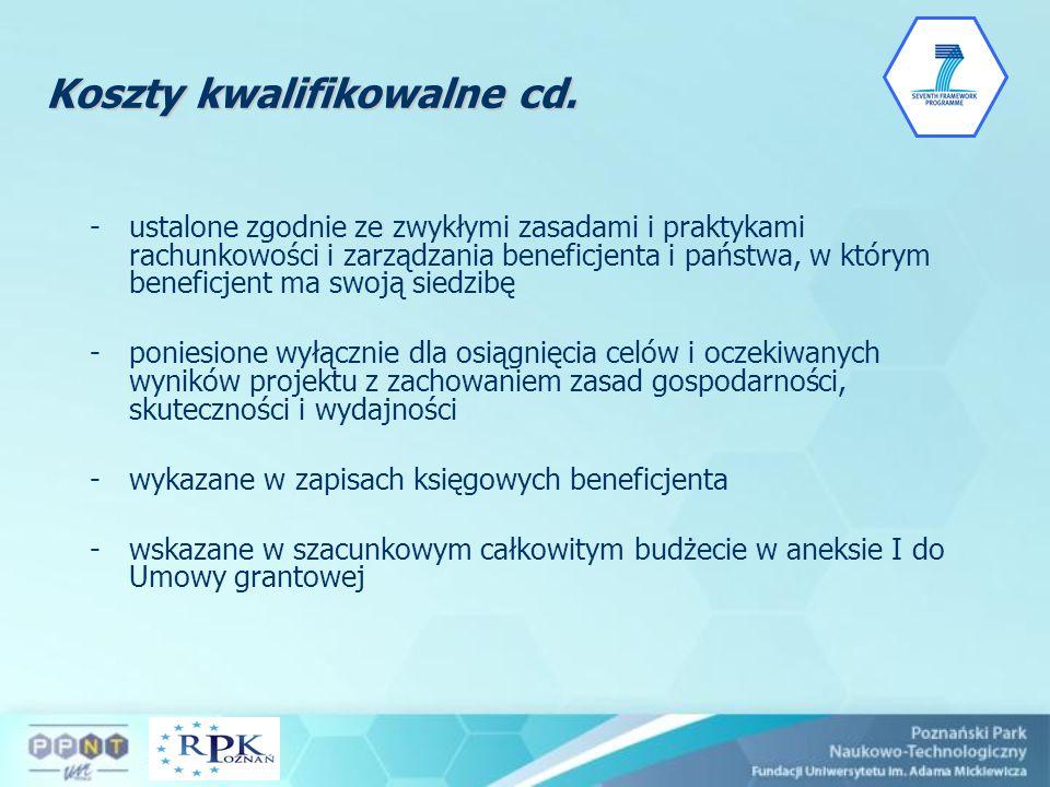Koszty kwalifikowalne cd.