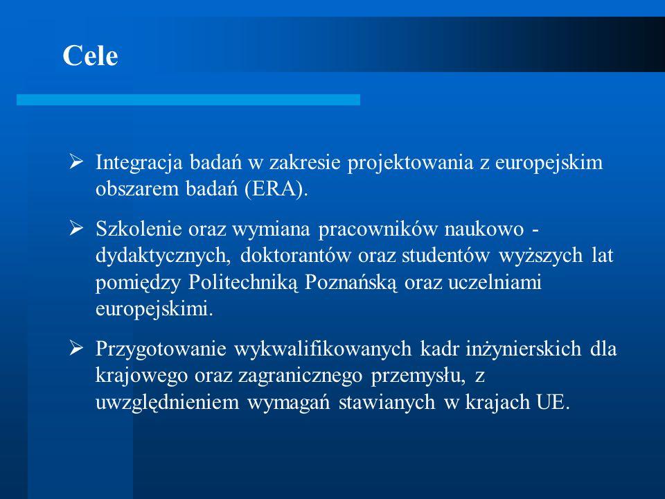 CeleIntegracja badań w zakresie projektowania z europejskim obszarem badań (ERA).