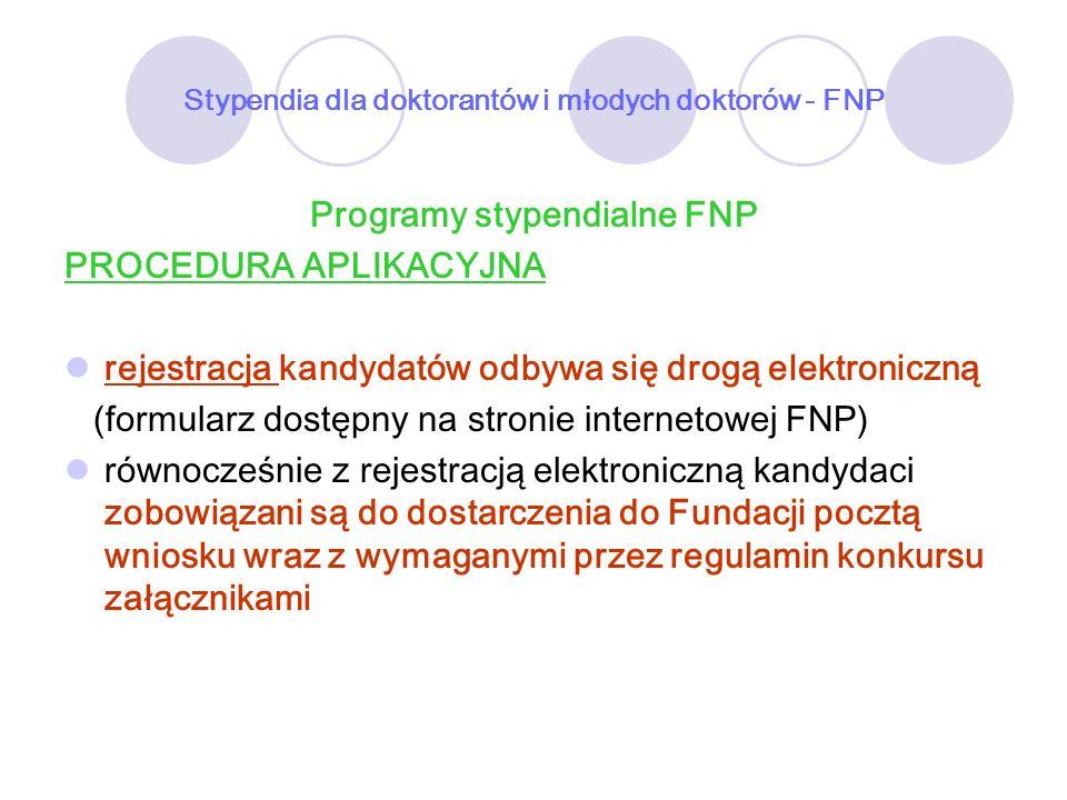 Stypendia dla doktorantów i młodych doktorów - FNP