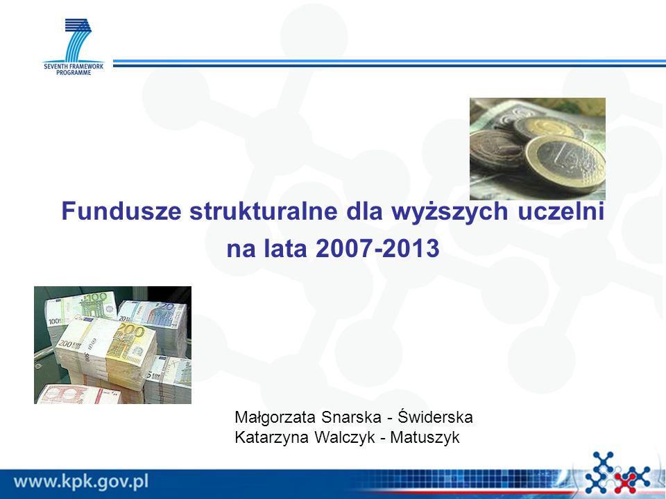Fundusze strukturalne dla wyższych uczelni