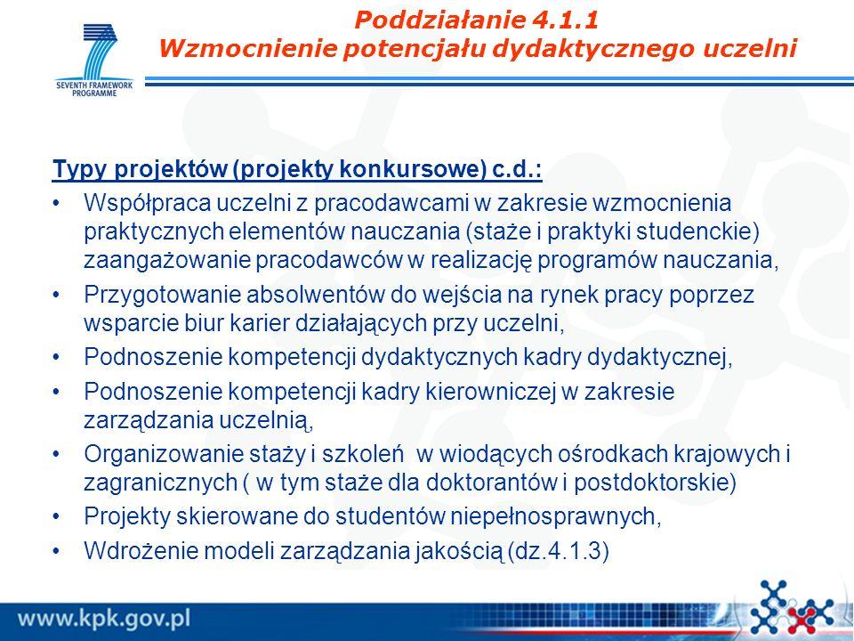Poddziałanie 4.1.1 Wzmocnienie potencjału dydaktycznego uczelni