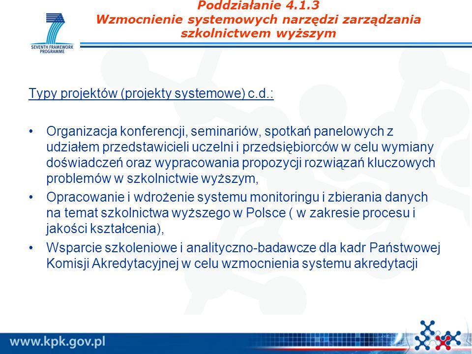 Typy projektów (projekty systemowe) c.d.: