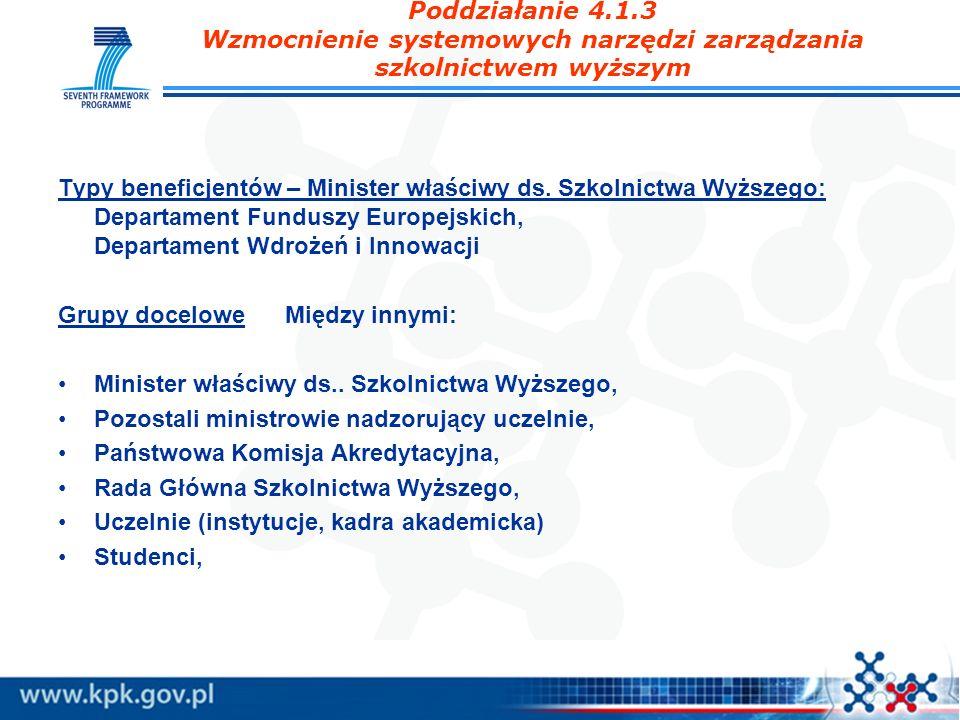 Poddziałanie 4.1.3 Wzmocnienie systemowych narzędzi zarządzania szkolnictwem wyższym