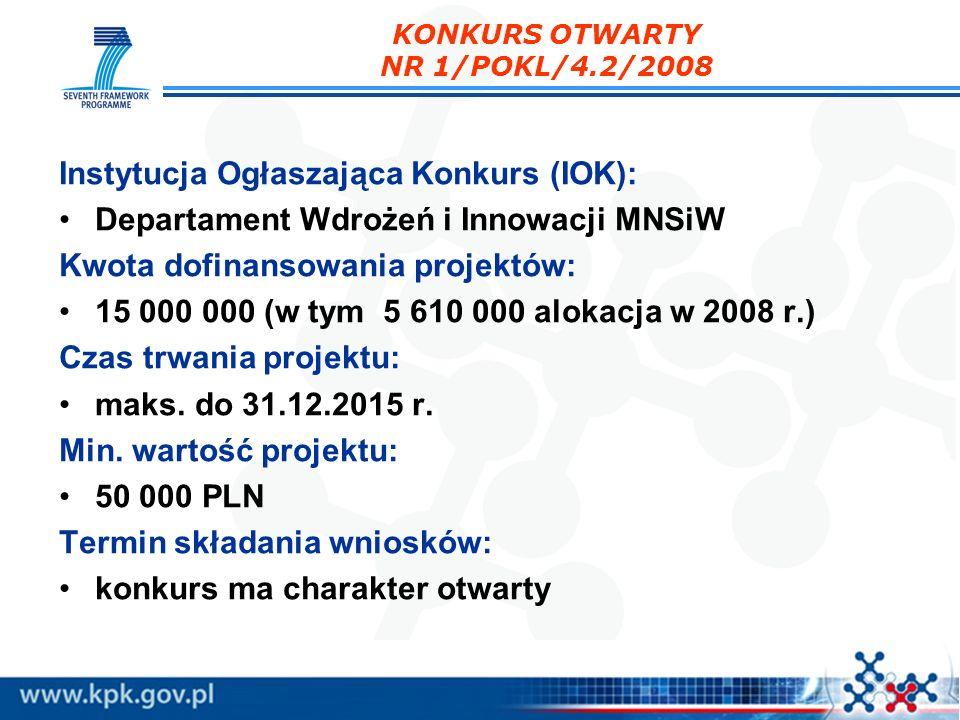 KONKURS OTWARTY NR 1/POKL/4.2/2008