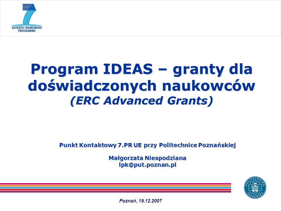 Program IDEAS – granty dla doświadczonych naukowców (ERC Advanced Grants)