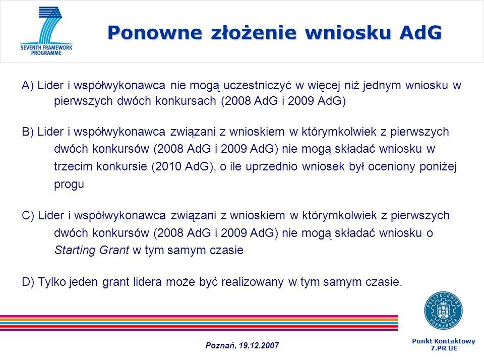 Ponowne złożenie wniosku AdG