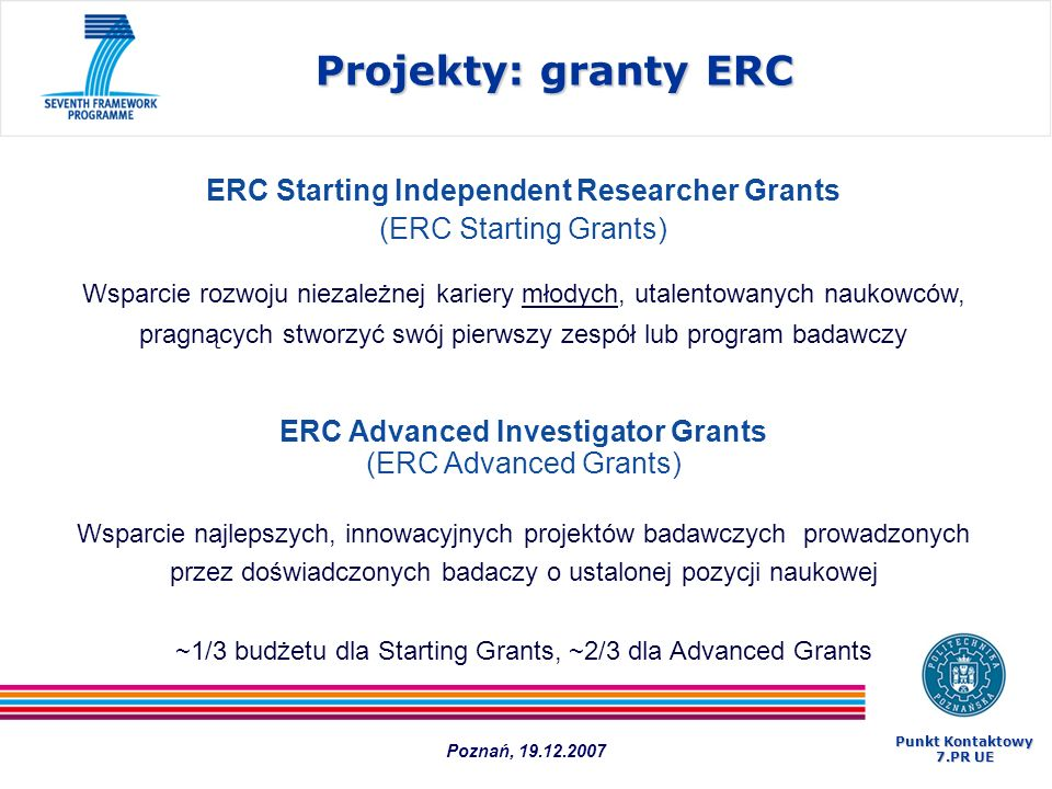 Projekty: granty ERC ERC Starting Independent Researcher Grants