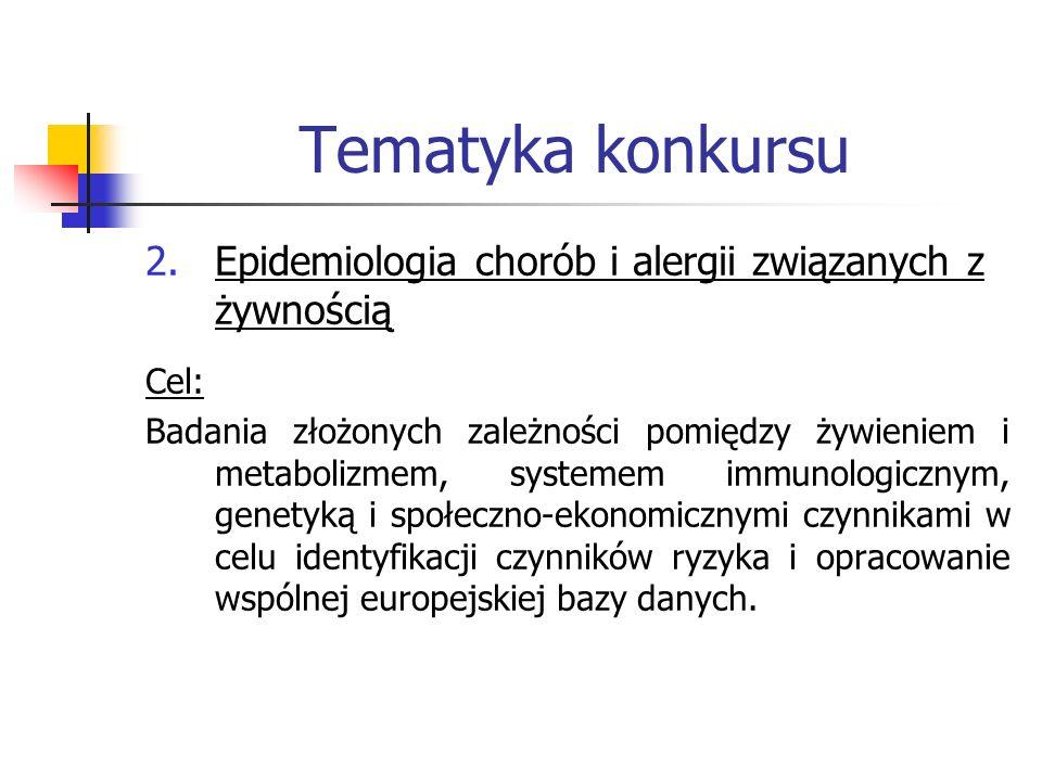 Tematyka konkursu Epidemiologia chorób i alergii związanych z żywnością. Cel: