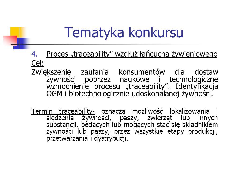 """Tematyka konkursu Proces """"traceability wzdłuż łańcucha żywieniowego"""