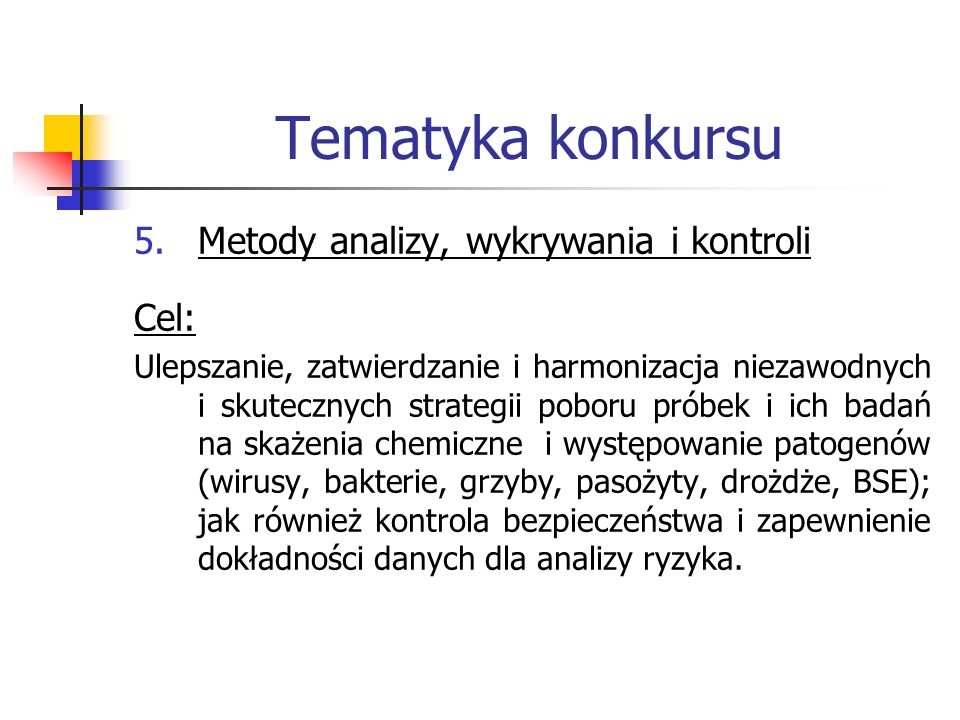 Tematyka konkursu Metody analizy, wykrywania i kontroli Cel: