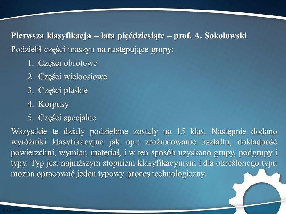 Pierwsza klasyfikacja – lata pięćdziesiąte – prof. A. Sokołowski