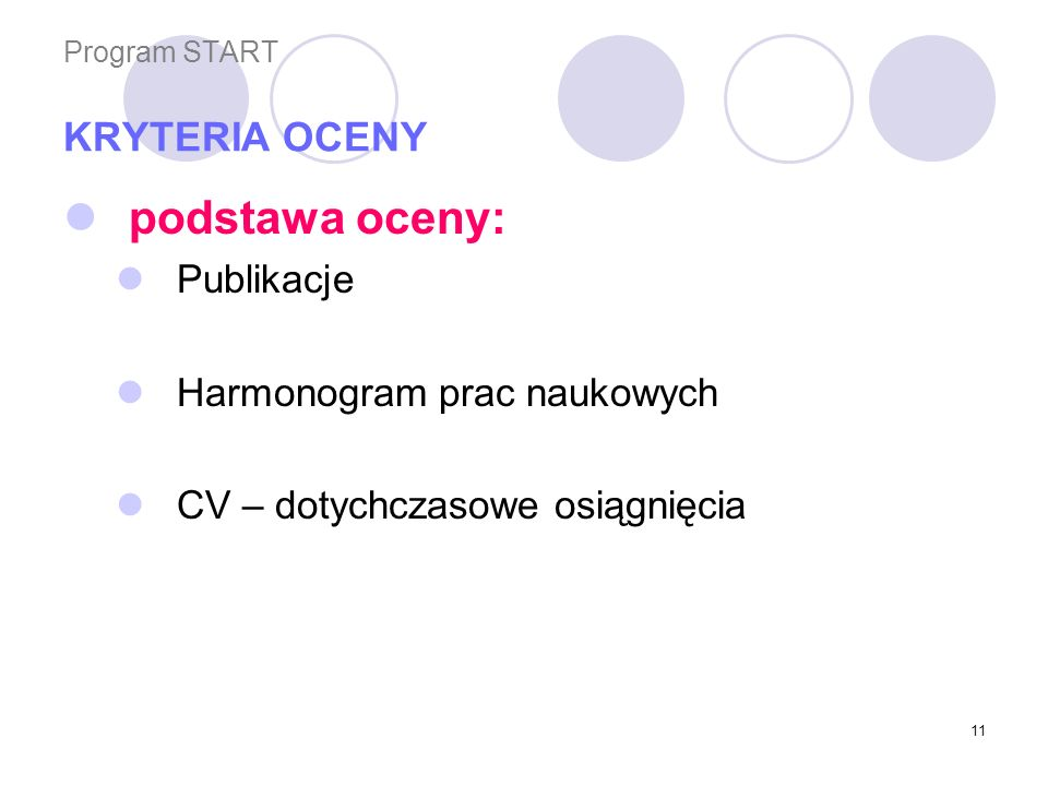 Program START KRYTERIA OCENY