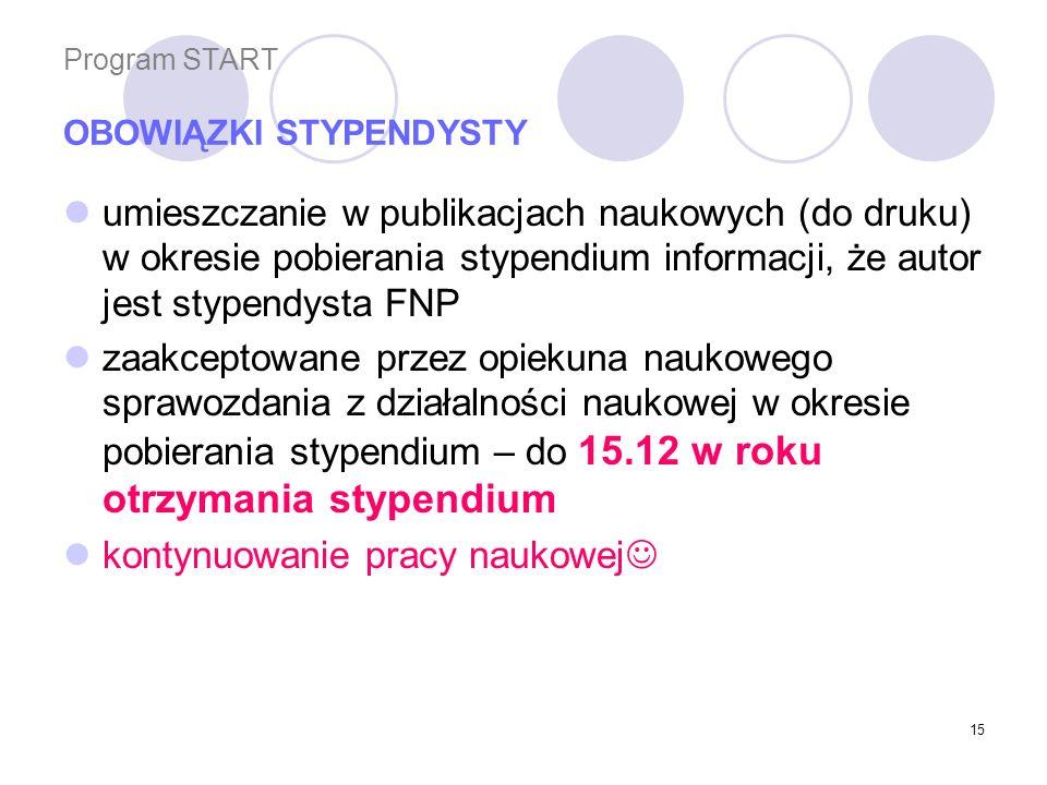 Program START OBOWIĄZKI STYPENDYSTY