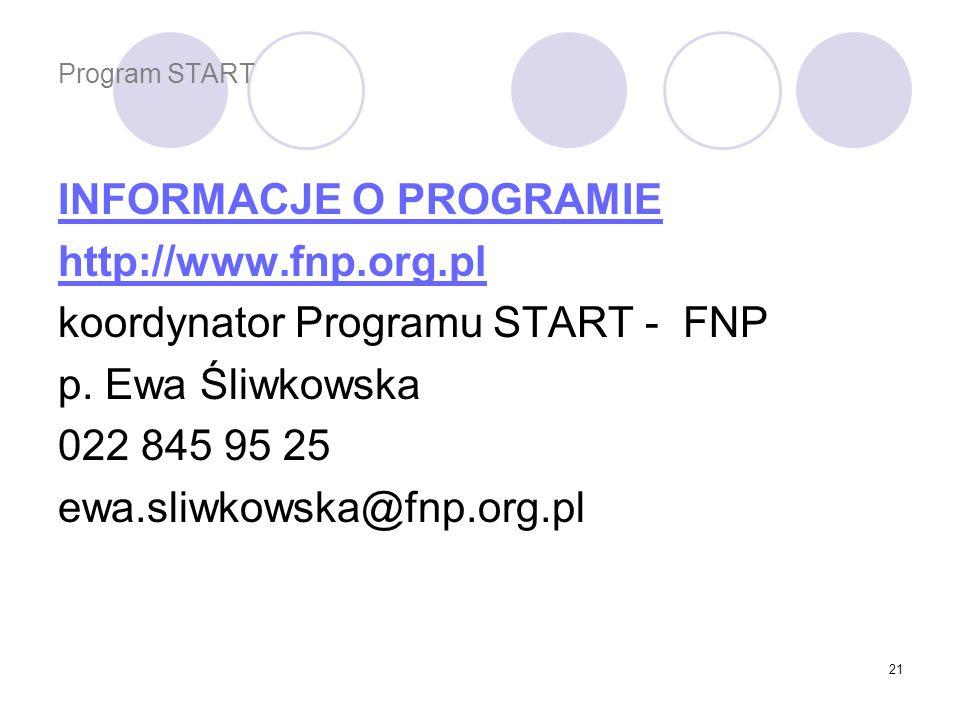 INFORMACJE O PROGRAMIE http://www.fnp.org.pl