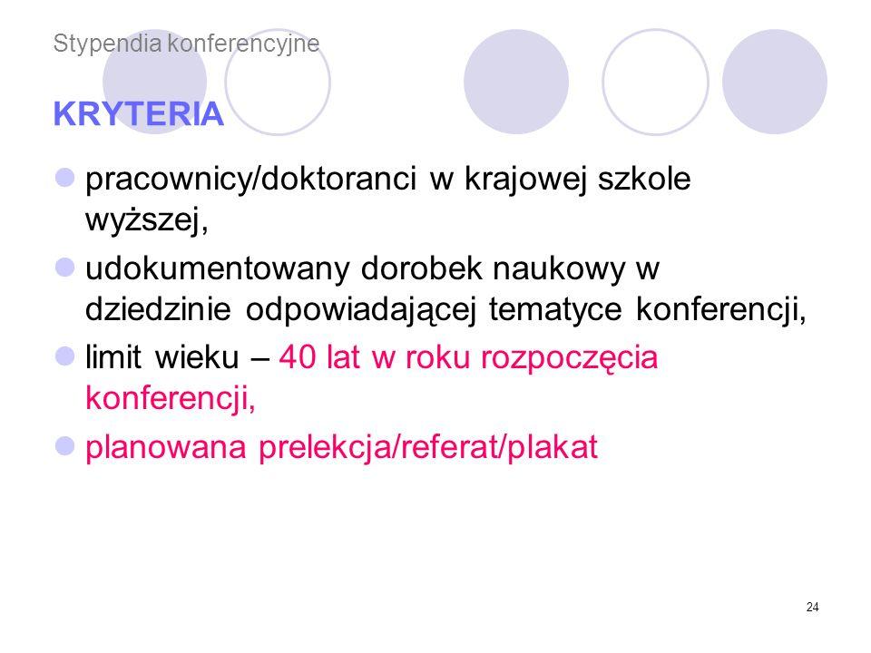 Stypendia konferencyjne KRYTERIA