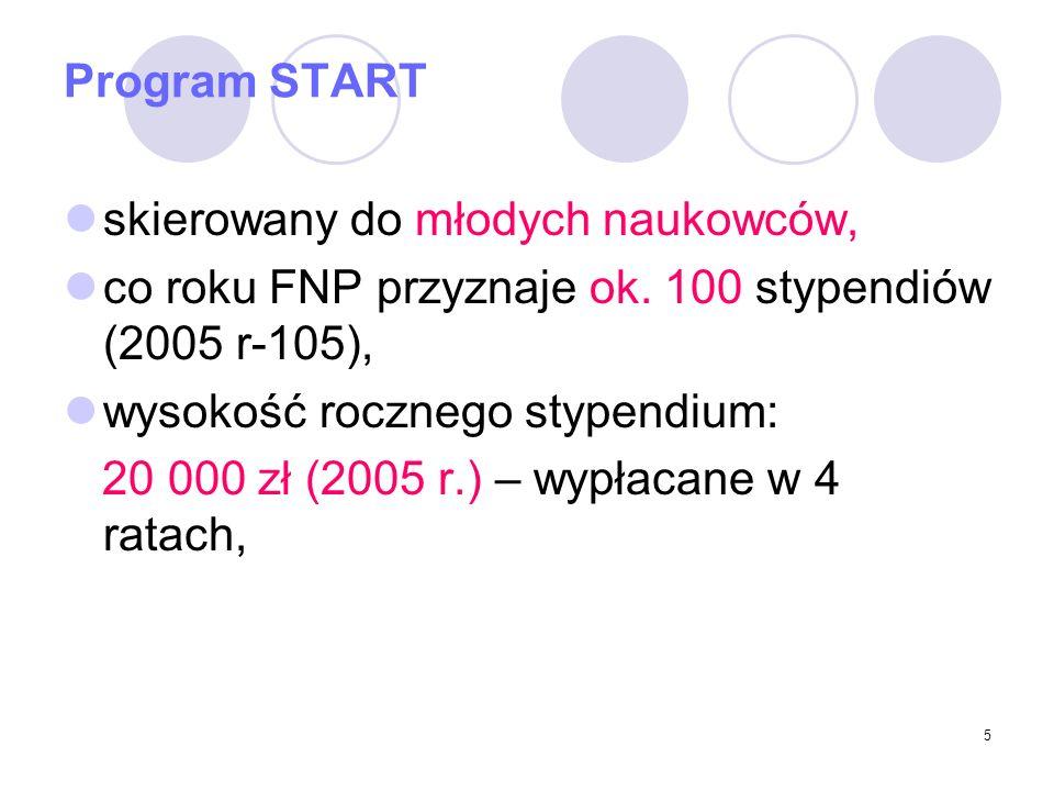 Program START skierowany do młodych naukowców, co roku FNP przyznaje ok. 100 stypendiów (2005 r-105),
