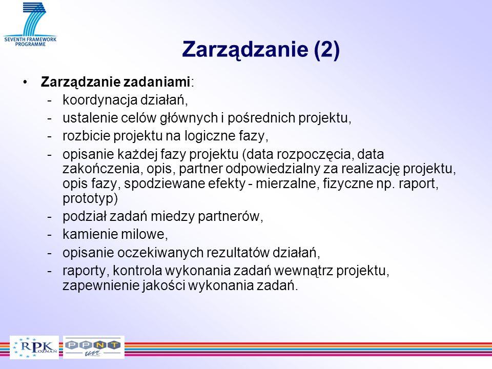 Zarządzanie (2) Zarządzanie zadaniami: koordynacja działań,