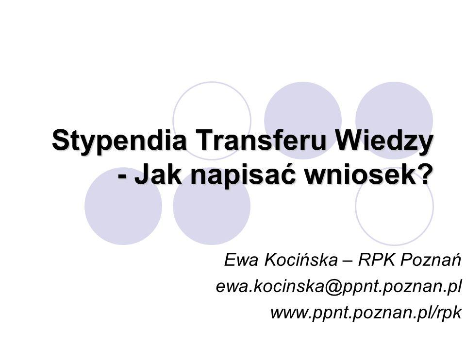 Stypendia Transferu Wiedzy - Jak napisać wniosek