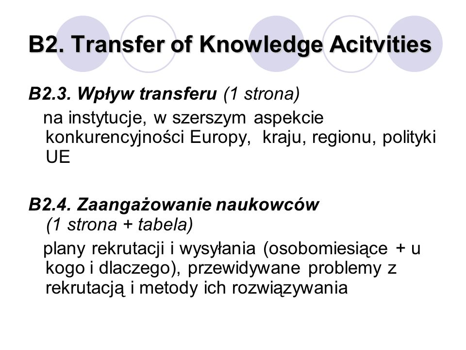 B2. Transfer of Knowledge Acitvities