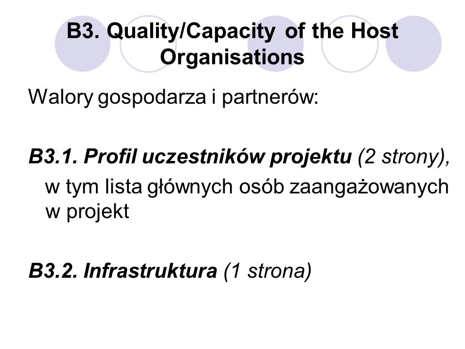 B3. Quality/Capacity of the Host Organisations
