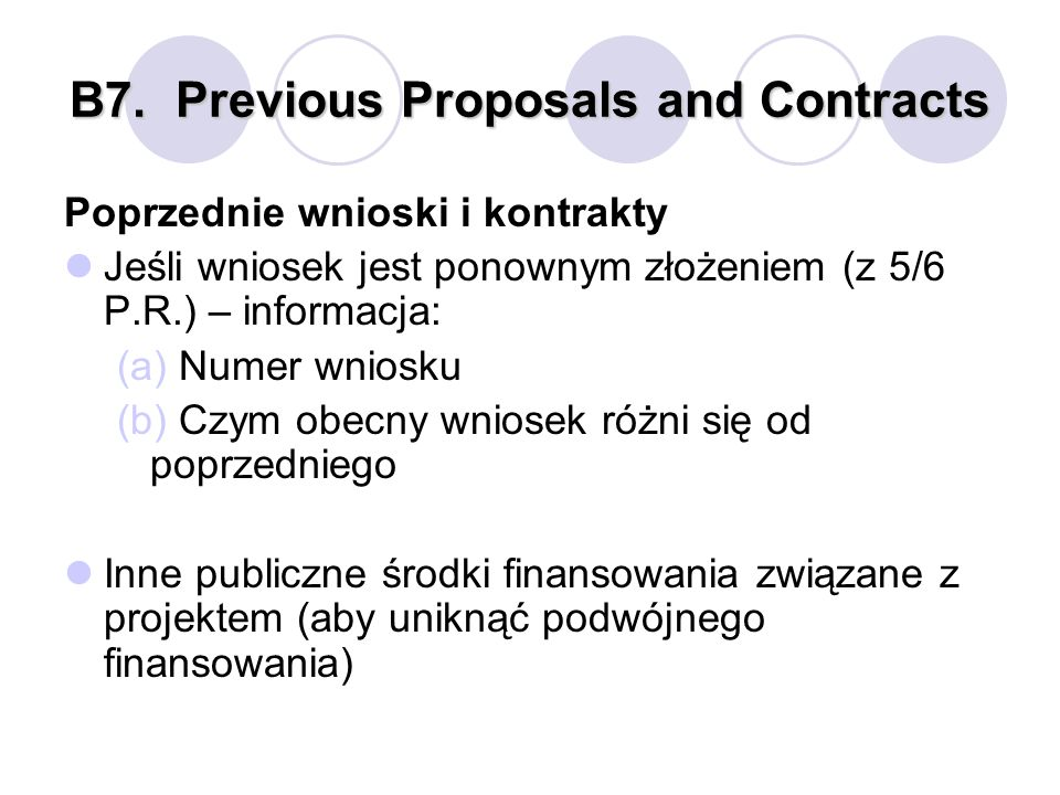 B7. Previous Proposals and Contracts