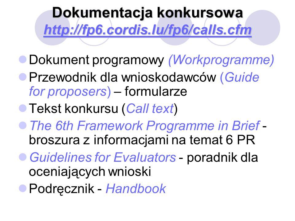 Dokumentacja konkursowa http://fp6.cordis.lu/fp6/calls.cfm