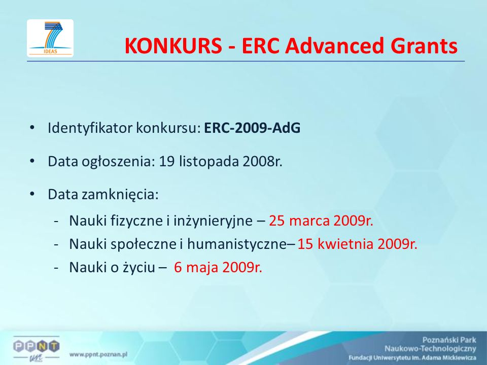 KONKURS - ERC Advanced Grants