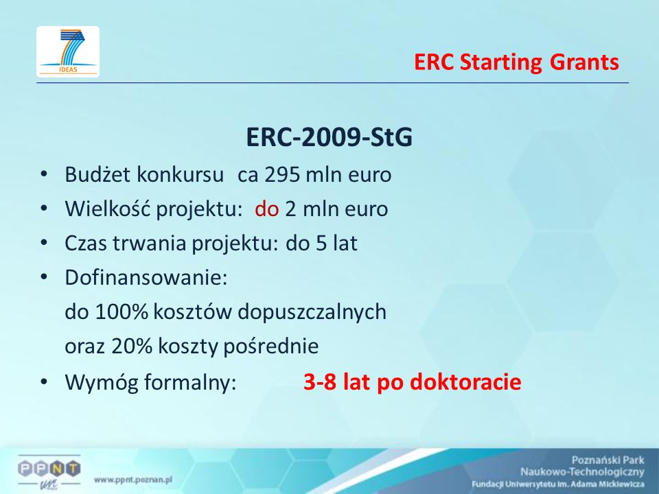 ERC-2009-StG ERC Starting Grants Budżet konkursu ca 295 mln euro