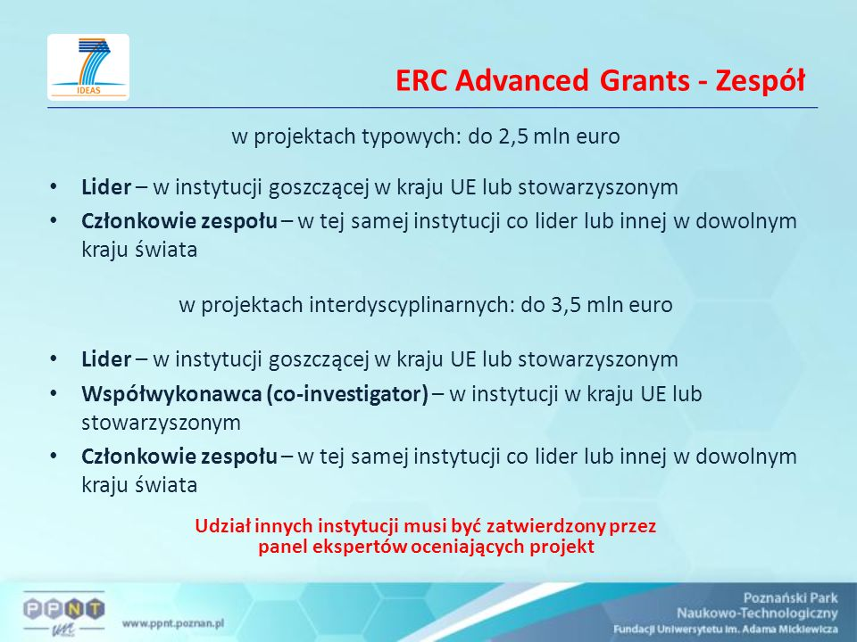 ERC Advanced Grants - Zespół