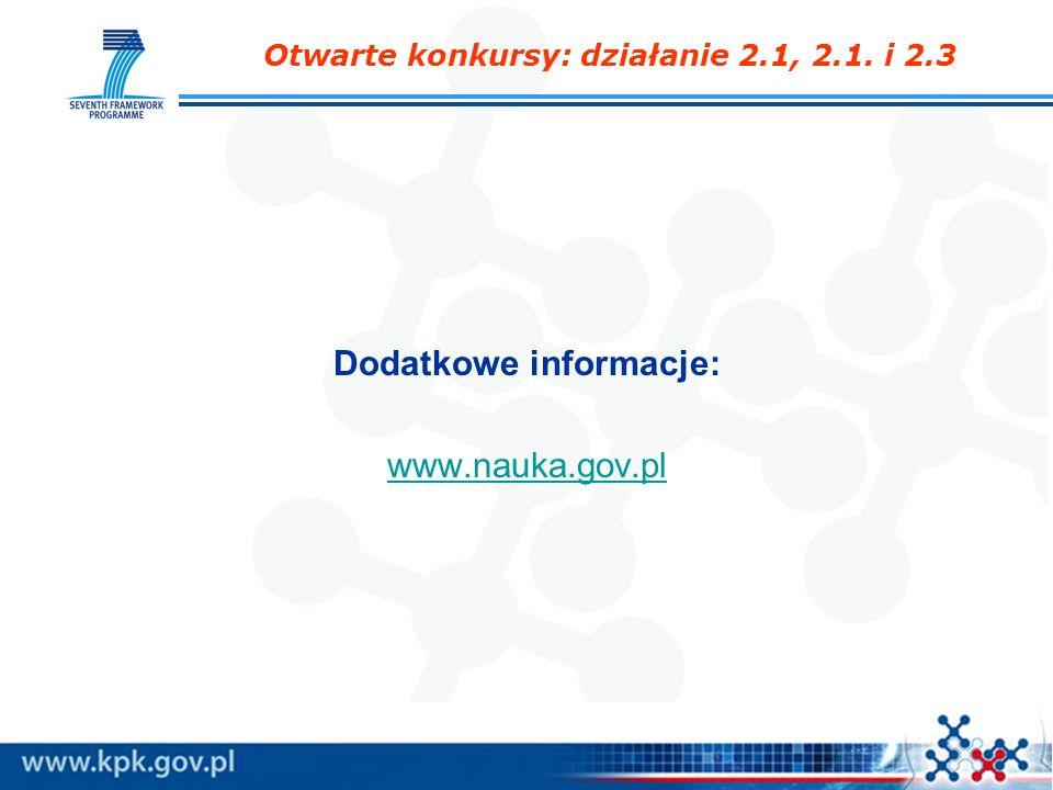 Otwarte konkursy: działanie 2.1, 2.1. i 2.3