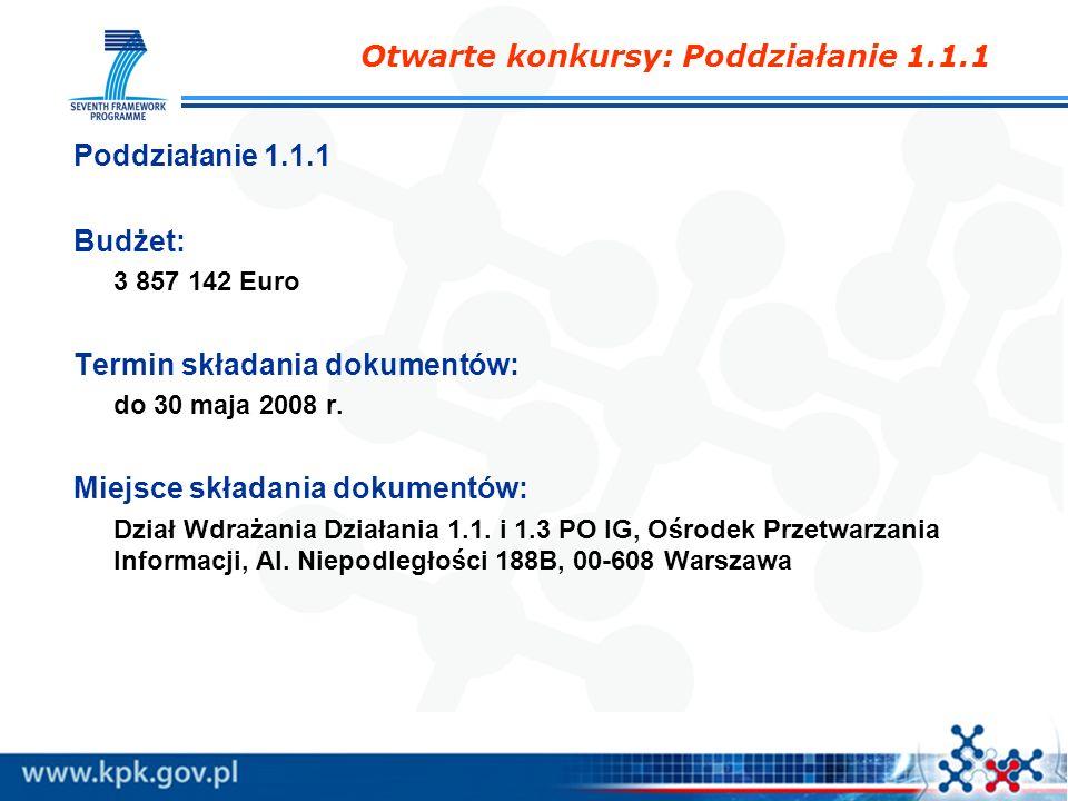 Otwarte konkursy: Poddziałanie 1.1.1