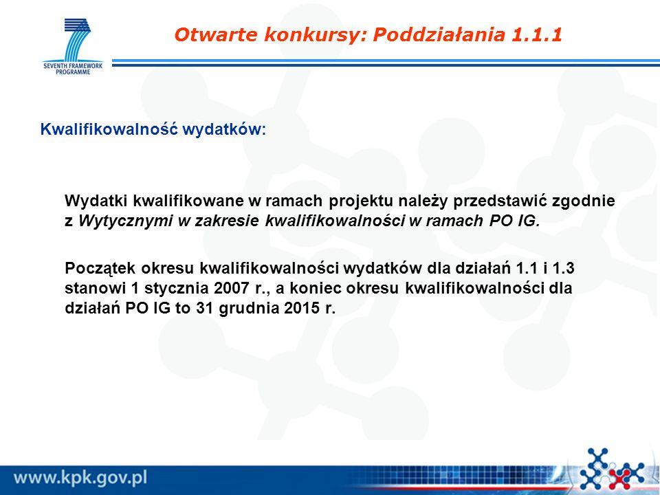 Otwarte konkursy: Poddziałania 1.1.1