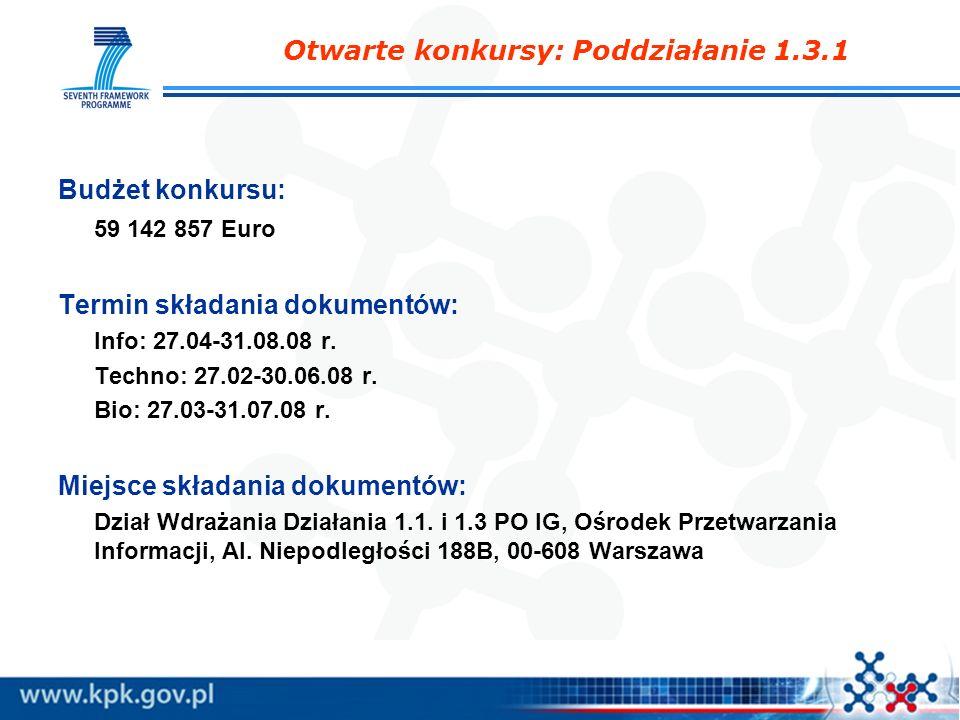 Otwarte konkursy: Poddziałanie 1.3.1