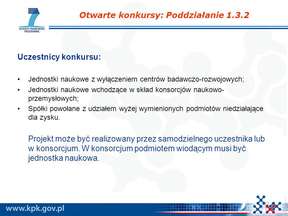 Otwarte konkursy: Poddziałanie 1.3.2