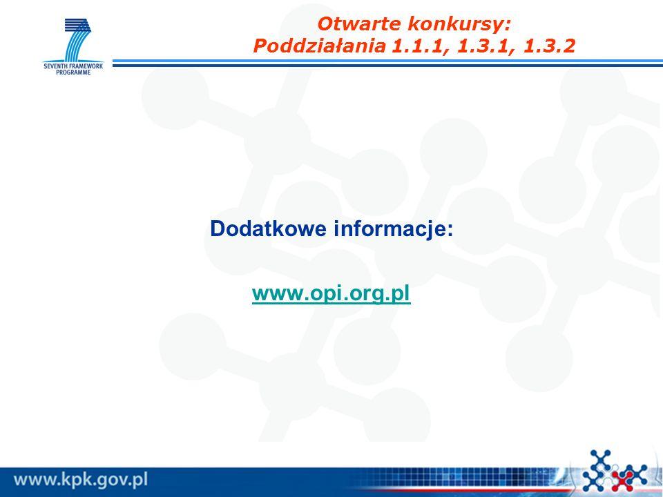 Otwarte konkursy: Poddziałania 1.1.1, 1.3.1, 1.3.2