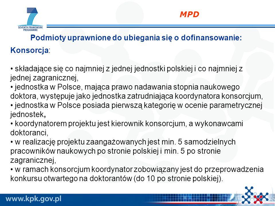 MPD Podmioty uprawnione do ubiegania się o dofinansowanie: Konsorcja: