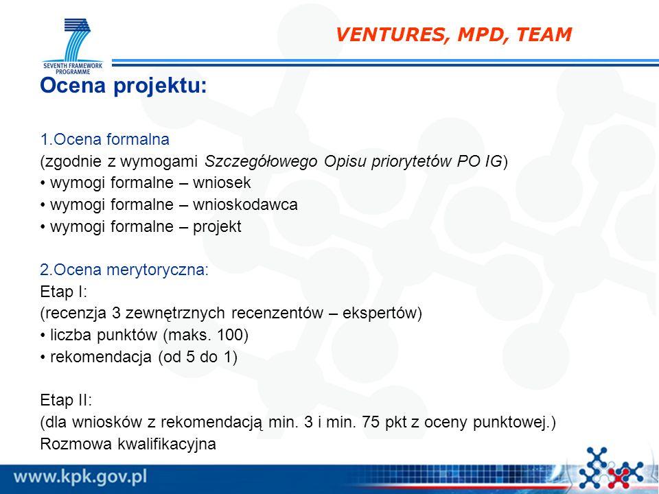 Ocena projektu: VENTURES, MPD, TEAM Ocena formalna