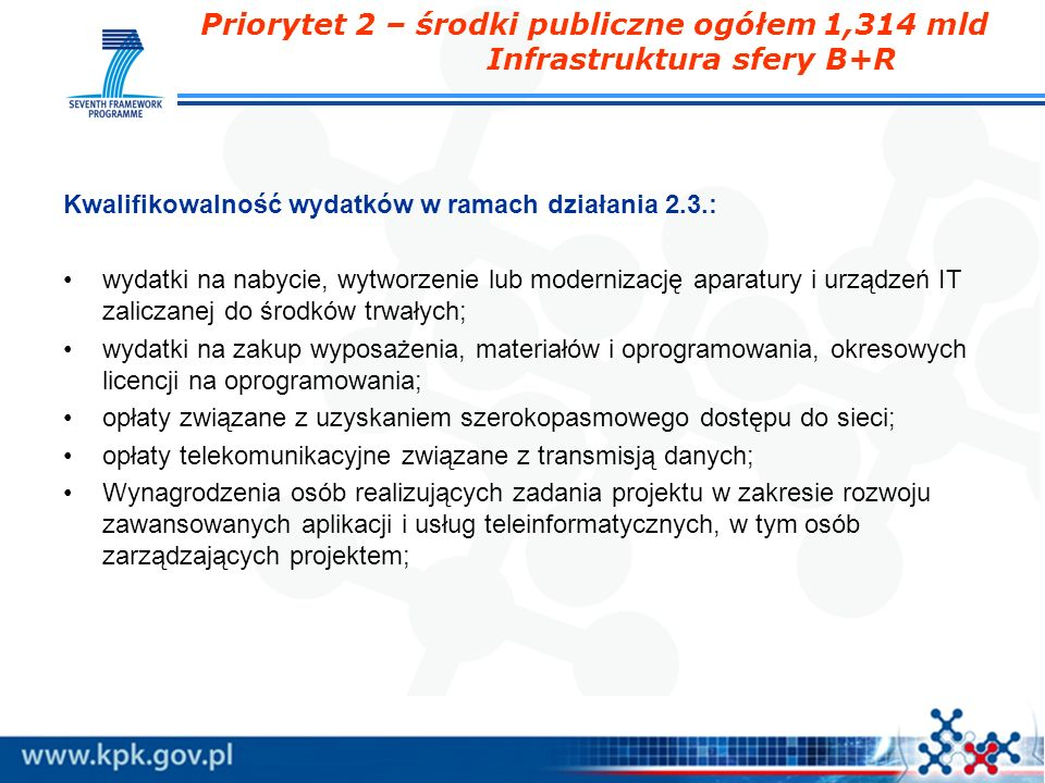 Priorytet 2 – środki publiczne ogółem 1,314 mld