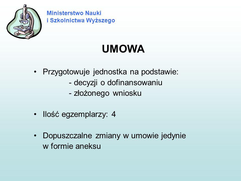 UMOWA Przygotowuje jednostka na podstawie: - decyzji o dofinansowaniu