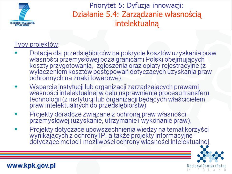 Priorytet 5: Dyfuzja innowacji: Działanie 5
