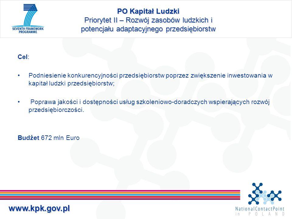 PO Kapitał Ludzki Priorytet II – Rozwój zasobów ludzkich i potencjału adaptacyjnego przedsiębiorstw