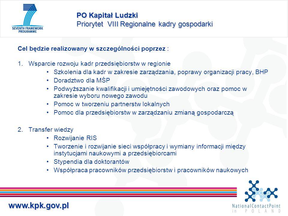 PO Kapitał Ludzki Priorytet VIII Regionalne kadry gospodarki