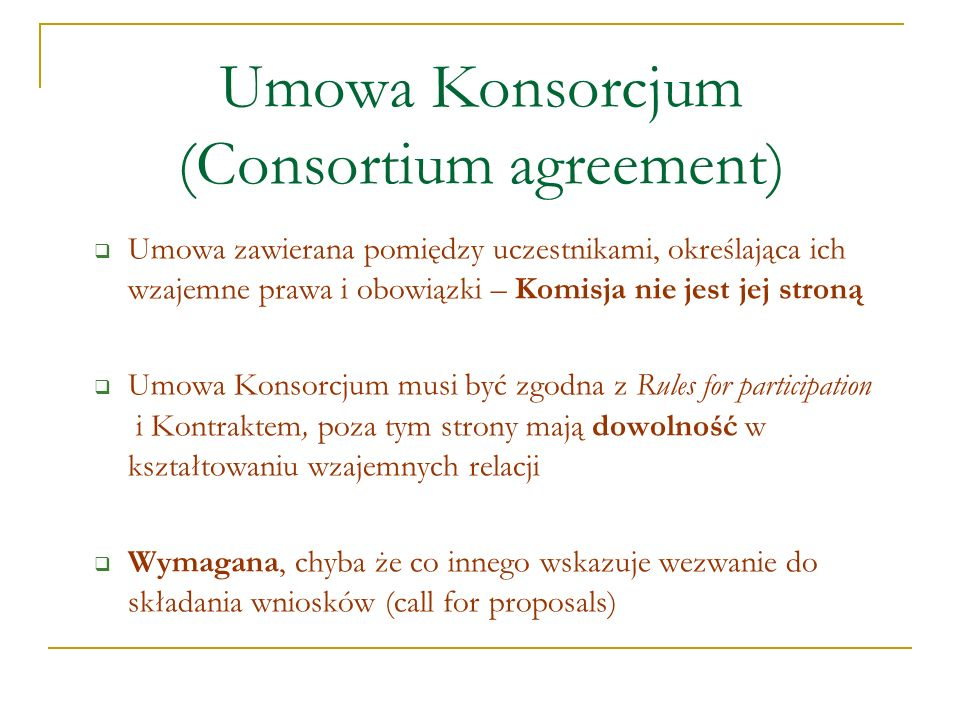 Umowa Konsorcjum (Consortium agreement)